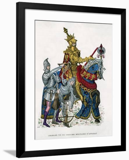 Charles VII, King of France, on Horseback in Full Armour, 15th Century (1882-188)- Gautier-Framed Giclee Print