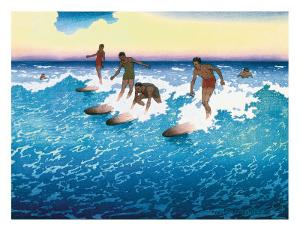 Surf Riders Honolulu, Hawaii, c.1925 by Charles W^ Bartlett
