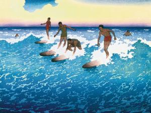 Surf Riders Honolulu, Hawaii, c.1925 by Charles W. Bartlett