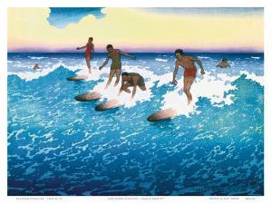 Surf Riders Honolulu, Hawaii, c.1925 by Charles W. Bartlett