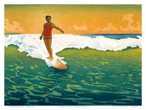 The Duke, Hawaiian Duke Kahanamoku Surfing c.1918 by Charles W^ Bartlett