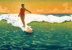The Duke, Hawaiian Duke Kahanamoku Surfing c.1918 by Charles W. Bartlett