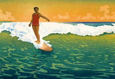 The Duke, Hawaiian Duke Kahanamoku Surfing c.1918 by Charles W^ Bartlett