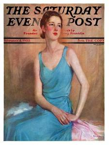 """""""Blue Dress,"""" Saturday Evening Post Cover, February 4, 1933 by Charles W. Dennis"""