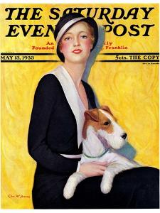 """""""Woman and Airedale,"""" Saturday Evening Post Cover, May 13, 1933 by Charles W^ Dennis"""
