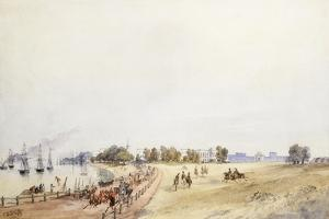 View of the Fort and Town, Calcutta, 1854 by Charles Walters D'Oyly