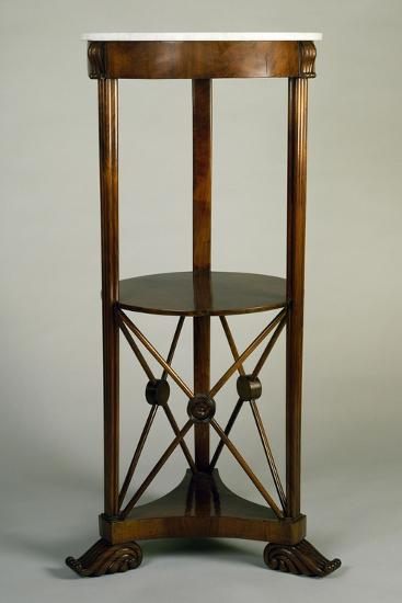 Charles X Style Circular Walnut Gueridon with Marble Top, 19th Century--Giclee Print