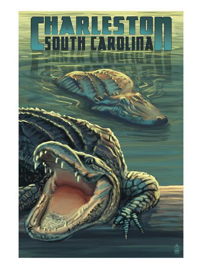 Charleston, South Carolina - Alligators Scene-Lantern Press-Art Print