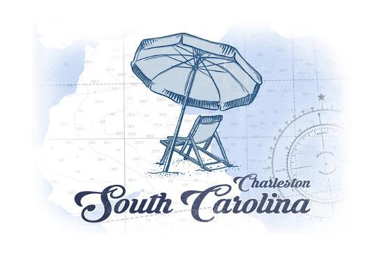 Charleston, South Carolina - Beach Chair and Umbrella - Blue - Coastal Icon-Lantern Press-Art Print
