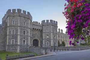 Windsor Castle in the Morning with Flowers in Hanging Baskets, Windsor, Berkshire, England by Charlie Harding