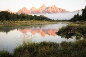 Mountains Reflected at Schwabacher Landing in Grand Teton National Park by Charlie James