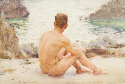 Charlie Seated on the Sand, 1907-Henry Scott Tuke-Giclee Print