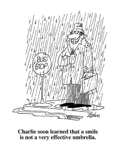 Charlie soon learned that a smile is not a very effective umbrella.  - Cartoon-Bob Zahn-Premium Giclee Print