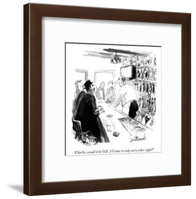 """""""Charlie, would it be O.K. if I came in only every other night?"""" - New Yorker Cartoon-Joseph Mirachi-Framed Premium Giclee Print"""