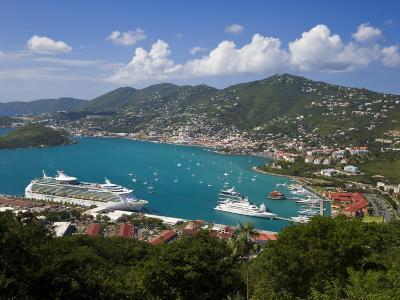 Charlotte Amalie and Cruise Ship Dock of Havensight, St. Thomas, U.S. Virgin Islands, West Indies-Gavin Hellier-Photographic Print