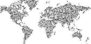 Hànzì Kanji World Map by Charlotte Bassin
