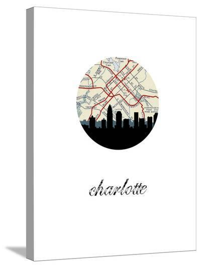 Charlotte Map Skyline-Paperfinch 0-Stretched Canvas Print