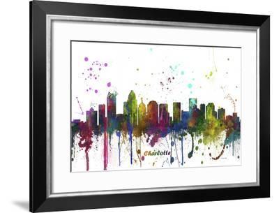 Charlotte NC Skyline MCLR 1-Marlene Watson-Framed Giclee Print