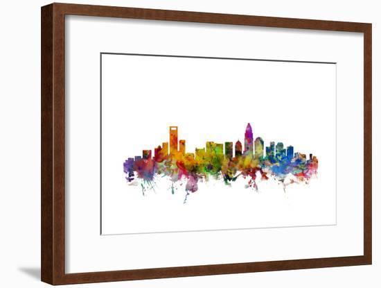 Charlotte North Carolina Skyline-Michael Tompsett-Framed Art Print