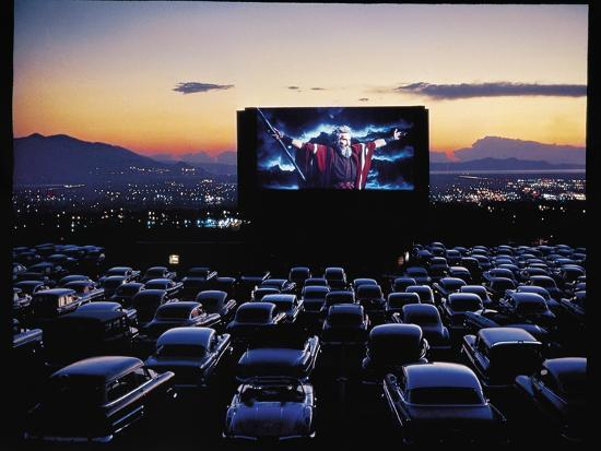 "Charlton Heston as Moses in Motion Picture ""The Ten Commandments"" Shown at Drive in Movie Theater-J^ R^ Eyerman-Premium Photographic Print"