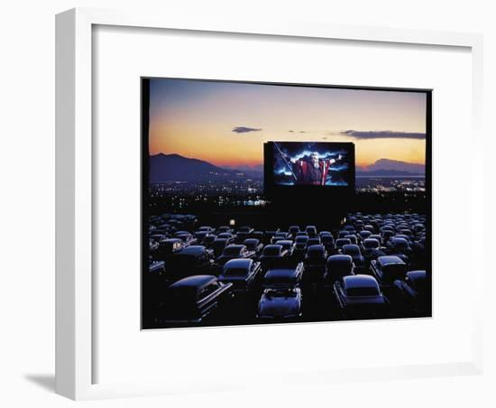 """Charlton Heston as Moses in Motion Picture """"The Ten Commandments"""" Shown at Drive in Movie Theater-J. R. Eyerman-Framed Premium Photographic Print"""