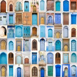 Very Old, Blue And Golden Doors Of Morocco by charobna