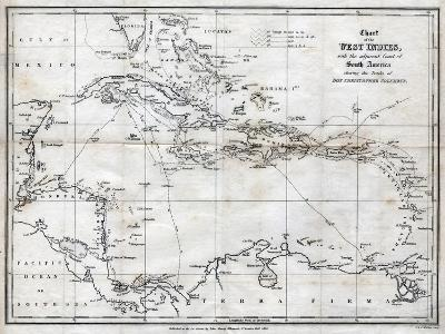 Chart of the West Indies, with the Adjacent Coast of South America, 1830-J&C Walker-Giclee Print