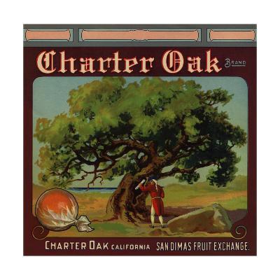 Charter Oak Brand - Charter Oak, California - Citrus Crate Label-Lantern Press-Art Print