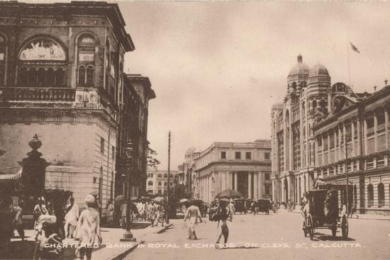 'Chartered Bank & Royal Exchange on Cleve St, Calcutta', c1900-Unknown-Photographic Print