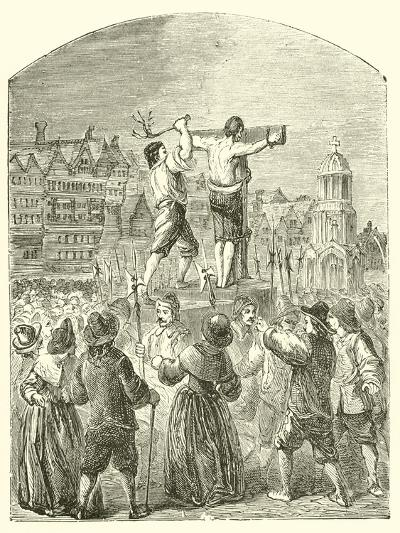 Chastising a Quaker at Paul's Cross, Cheapside, in the Time of Oliver Cromwell--Giclee Print