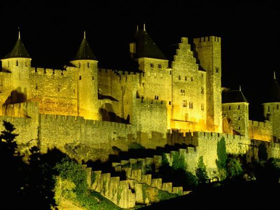 """Chateau Comtal and Medieval Walled City at Night Above """"New Town"""", Carcassonne, France-Dallas Stribley-Photographic Print"""
