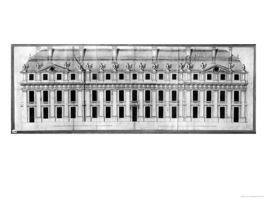 Chateau de Vincennes: Elevation of the Facade of a Corner Pavilion, 1658-Louis Le Vau-Giclee Print