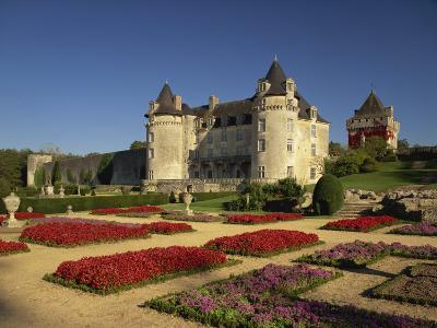 Chateau Rochecourbon and Colourful Flowerbeds in Formal Gardens, Western Loire, France-Michael Busselle-Photographic Print