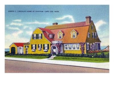 Chatham, Cape Cod, MA, Exterior View of Joseph Lincoln's Home-Lantern Press-Framed Art Print