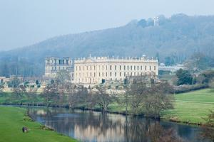 Chatsworth House from the Southwest over the River Derwent, Derbyshire