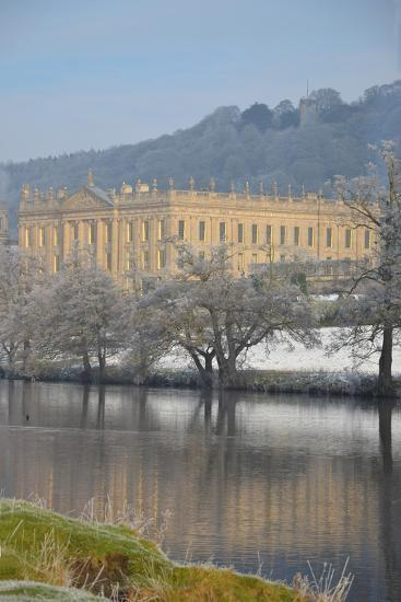 Chatsworth House from the Southwest over the River Derwent, Derbyshire--Photographic Print