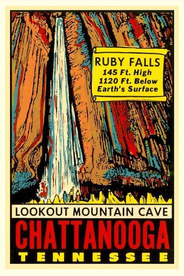 Chattanooga Decal, Ruby Falls--Art Print