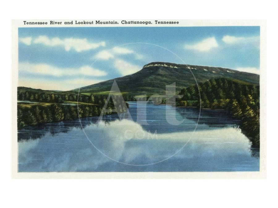 Chattanooga, Tennessee - View of Lookout Mountain from the Tennessee River  Art Print by Lantern Press | Art com