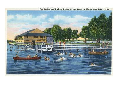 Chautauqua Lake, New York - Bemus Point, View of Casino and Beach-Lantern Press-Art Print
