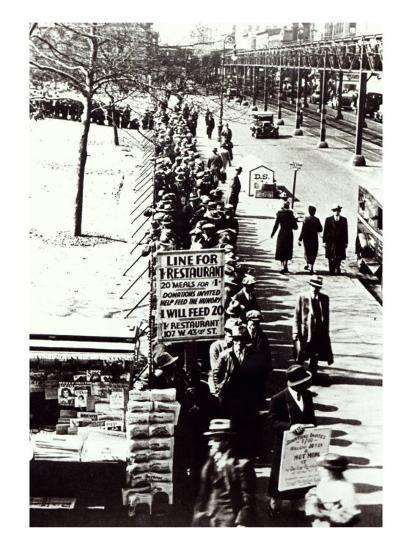 Cheap Food Line at Bryant Park, New York, During the Great Depression, 1931--Giclee Print