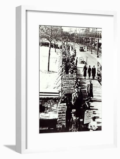 Cheap Food Line at Bryant Park, New York, During the Great Depression, 1931--Framed Giclee Print