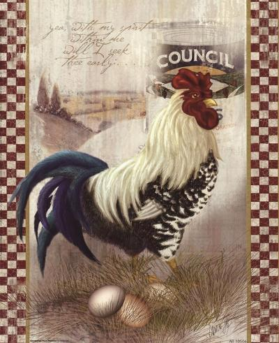 Checkered Past Rooster-Alma Lee-Art Print
