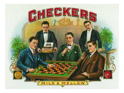 Checkers Brand Cigar Box Label-Lantern Press-Art Print