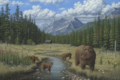 Checking Things Out - Grizzlies-Robert Wavra-Giclee Print