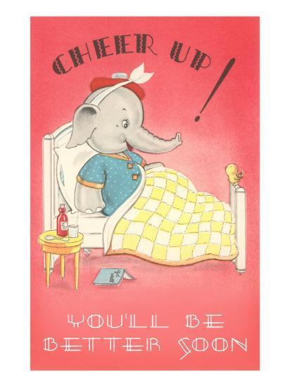 Cheer Up, Cartoon Elephant in Bed--Art Print