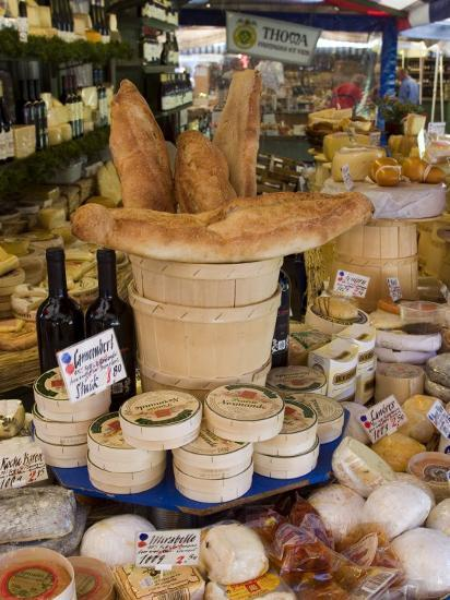 Cheese and Bread on Food Stall at Viktualienmarkt, Munich, Bavaria, Germany-Yadid Levy-Photographic Print