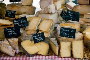 Cheese for Sale at a Market Stall, Lourmarin, Vaucluse, Provence-Alpes-Cote D'Azur, France