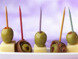 Cheese, Olives and Anchovies on Cocktail Sticks