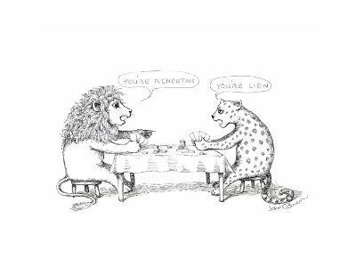 Cheetah and Lion playing cards - Cartoon-John O'brien-Premium Giclee Print