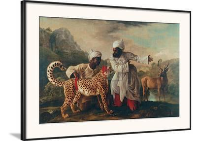Cheetah and Stag with Two Indians-George Stubbs-Framed Art Print